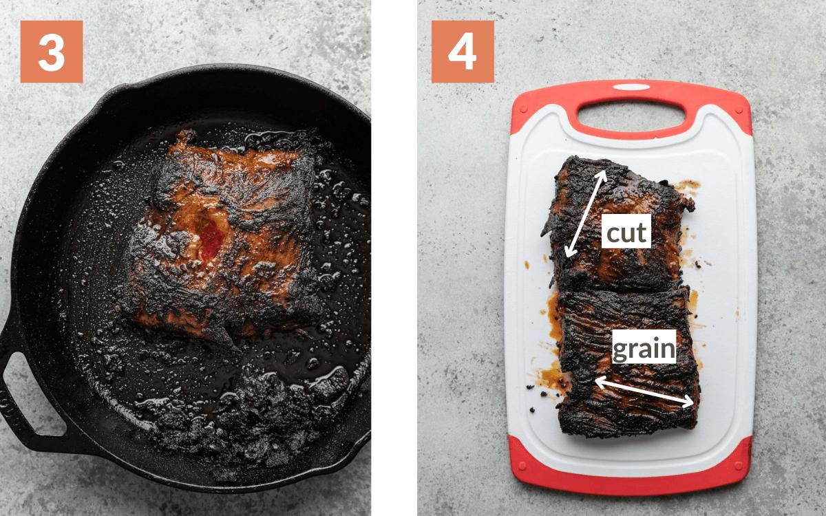 steps 3 & 4 grilled steak in cast iron steak resting on cutting board