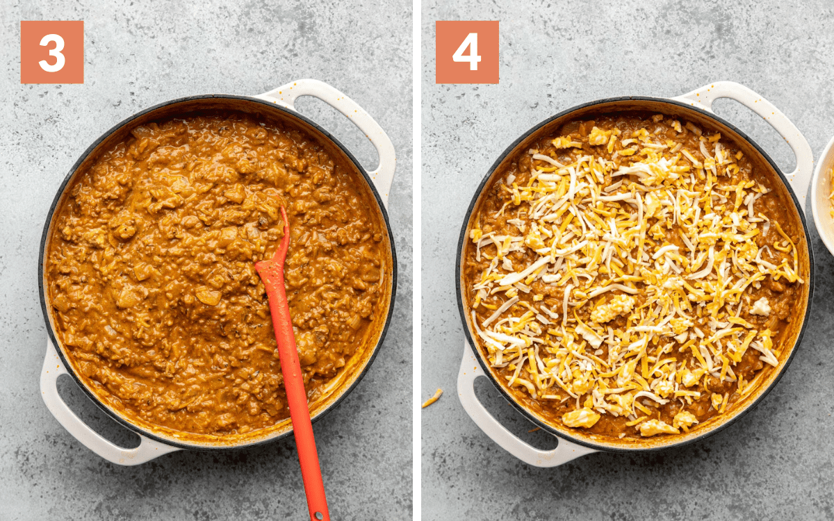 steps 3 & 4 casserole without topping casserole with first layer of cheese