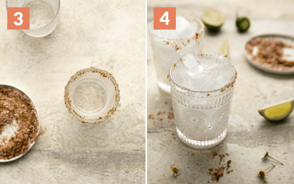 steps 3 & 4 salted glass glass filled with ice