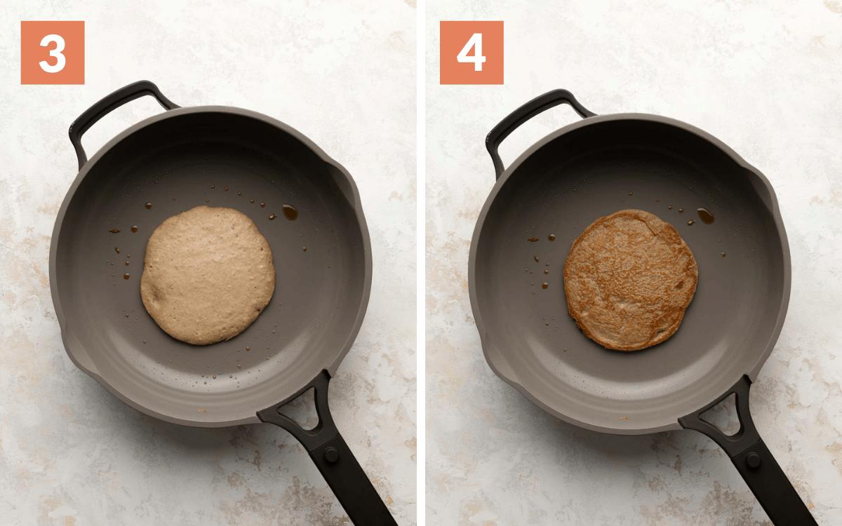 steps 3 & 4 batter poured in pan flipped pancake
