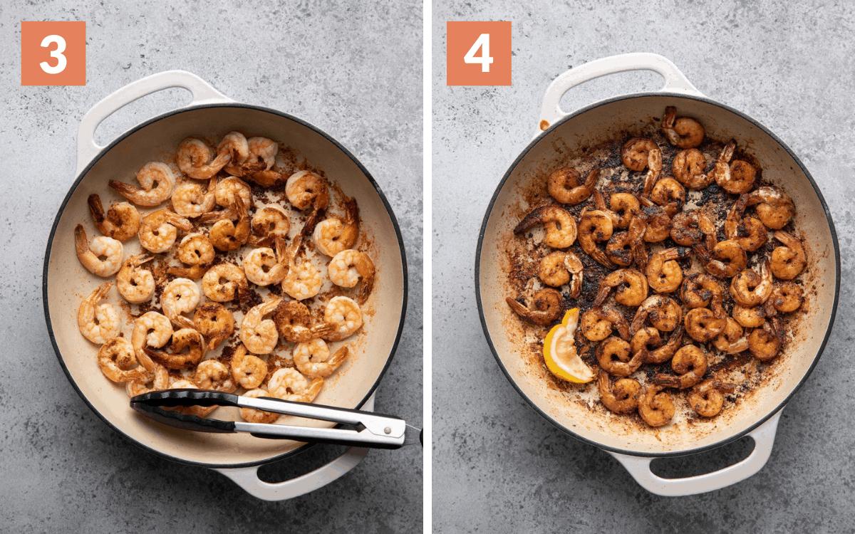 steps 3 & 4 shrimp in skillet halfway through cooking finished shirmp in skillet