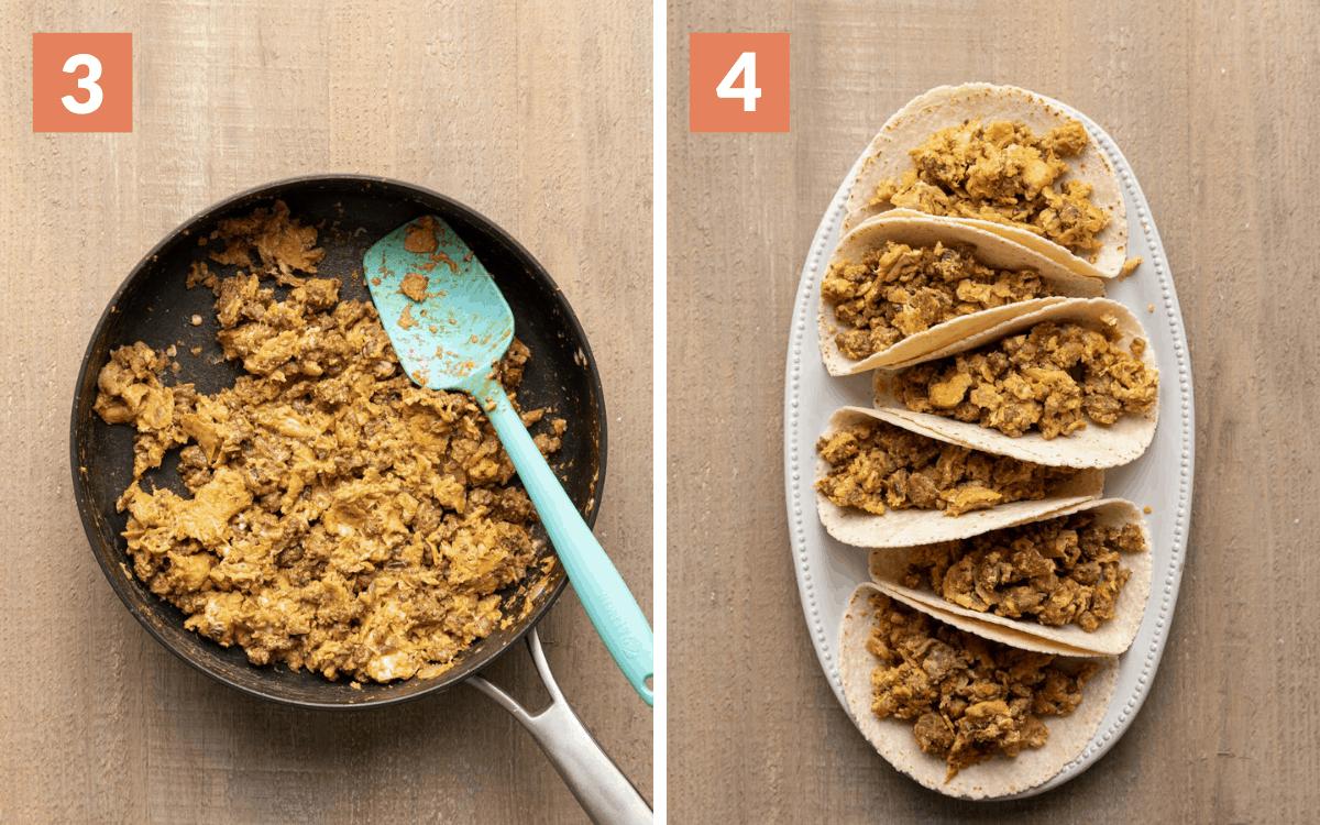 steps 3 & 4 eggs and chorizo scrambled in pan eggs in flour tortillas