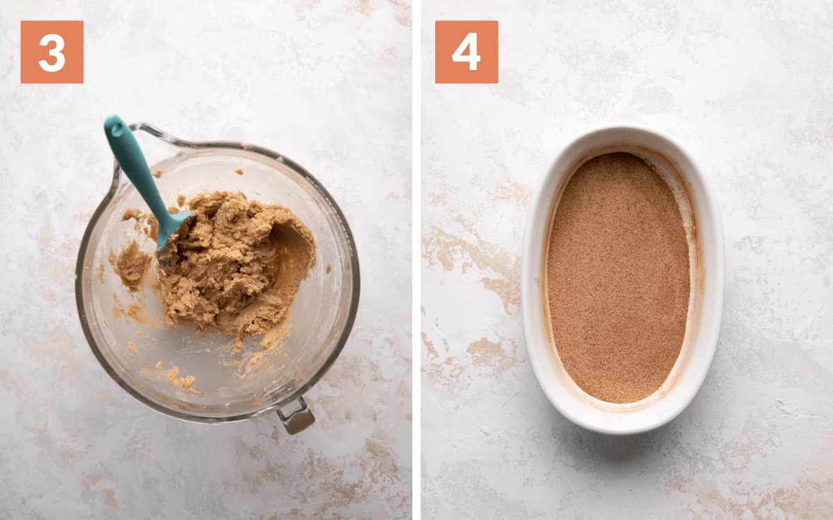 steps 3 & 4 cookie dough in bowl cinnamon sugar mixed on plate