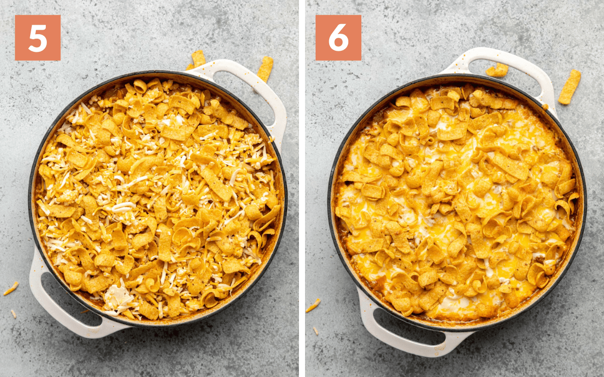 steps 5 & 6 casserole with Fritos and cheese on top baked finished casserole