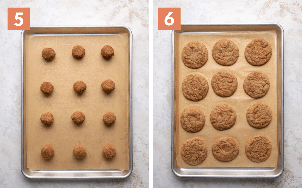 steps 5 & 6 unbaked cookie dough on baking sheet baked cookies on baking sheet