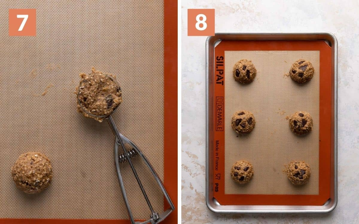 steps 7 & 8 cookie scoop filled with remaining dough 6 unbaked cookies on baking sheet with chocolate on top