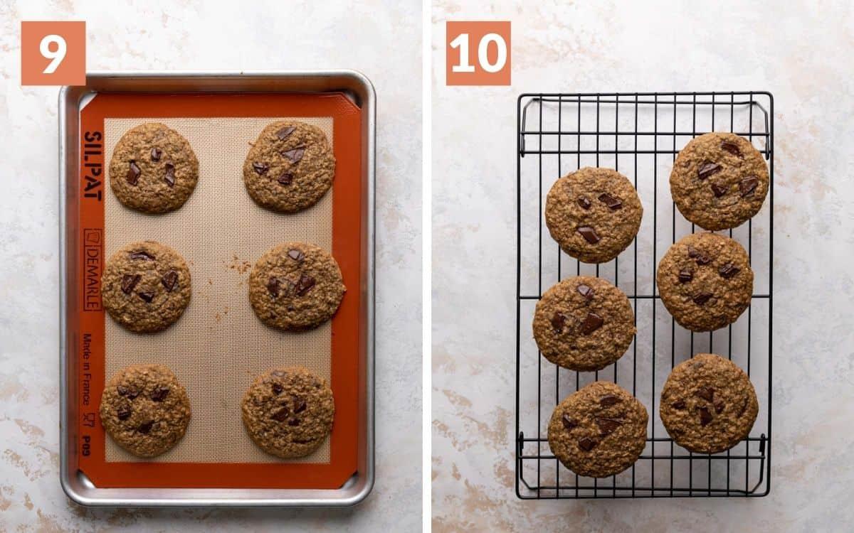 steps 9 & 10 cookies cooling on baking sheet cookies cooling on rack