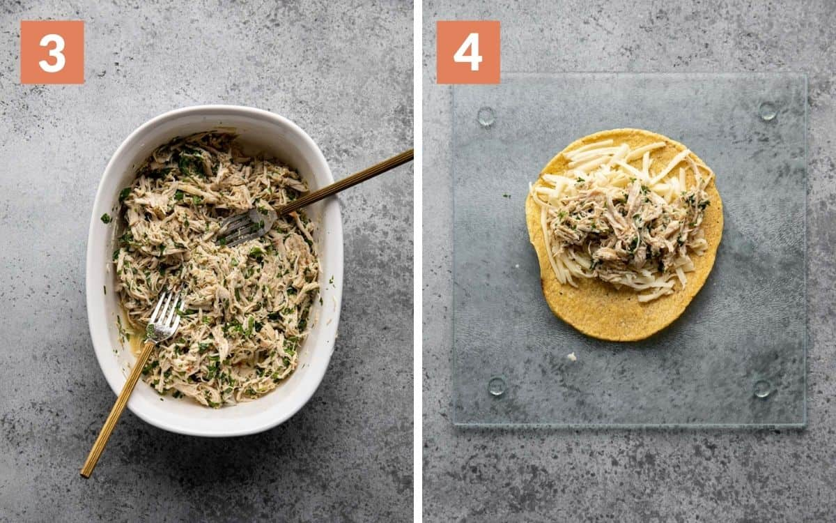 steps 3 & 4 shredded chicken in bowl tortilla with cheese and chicken on top