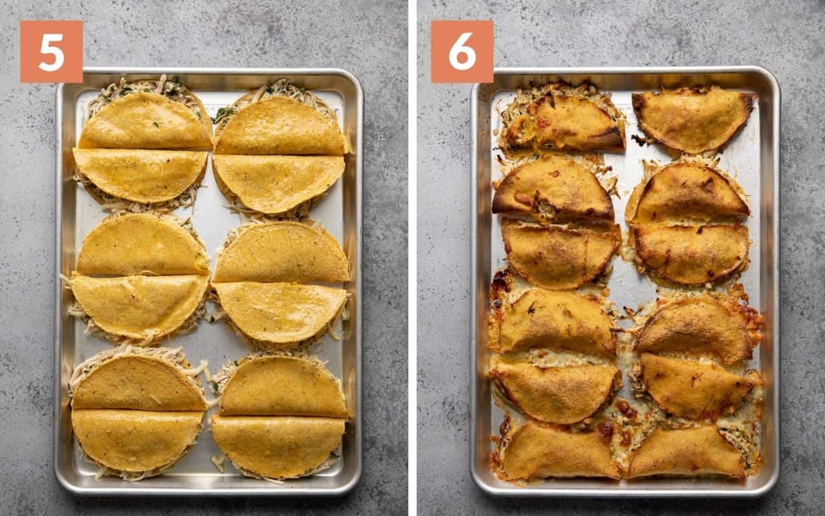 steps 5 & 6 assembled tacos on baking sheet finished tacos on baking sheet