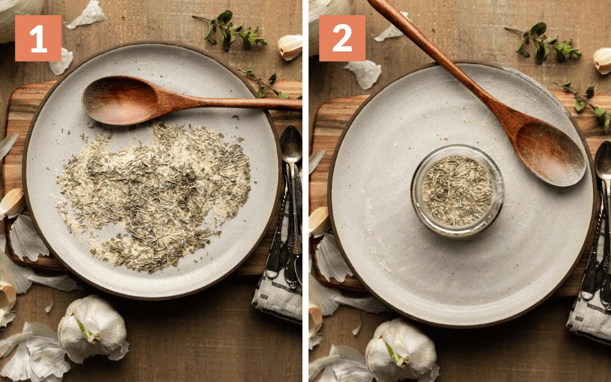 steps 1 & 2 mixed seasoning on plate seasoning in jar