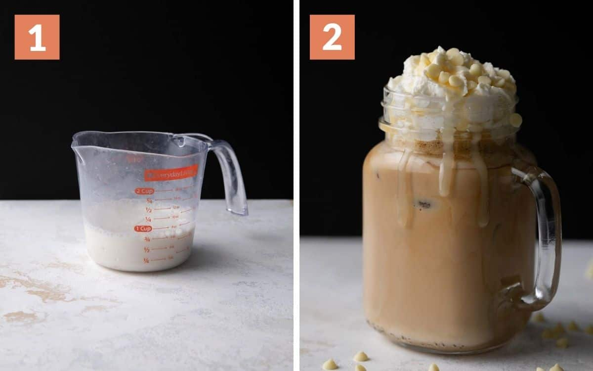 steps 1 & 2  milk and chocolate sauce mixed in measuring cup finished white mocha