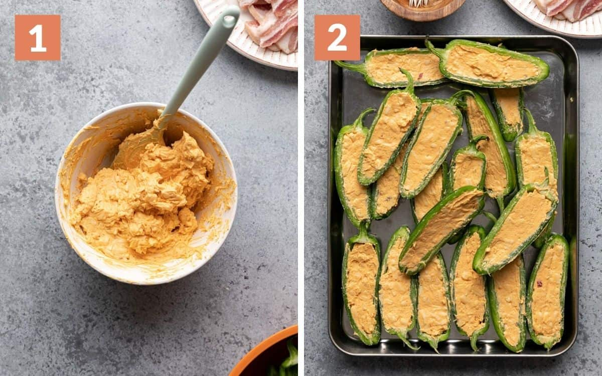 steps 1 & 2 cheese mixture in mixing bowl jalapeno halves stuffed with cheese