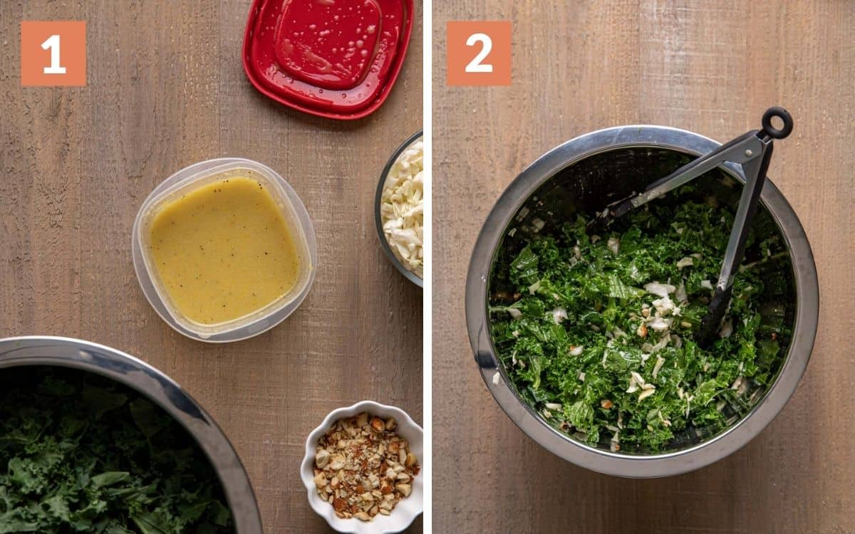 steps 1 & 2 dressing in container shaken tossed salad in large bowl