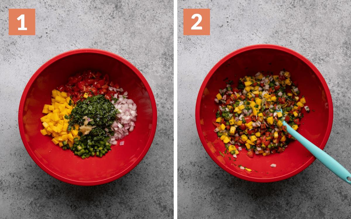 steps 1 & 2 ingredients in bowl ingredients tossed together in bowl