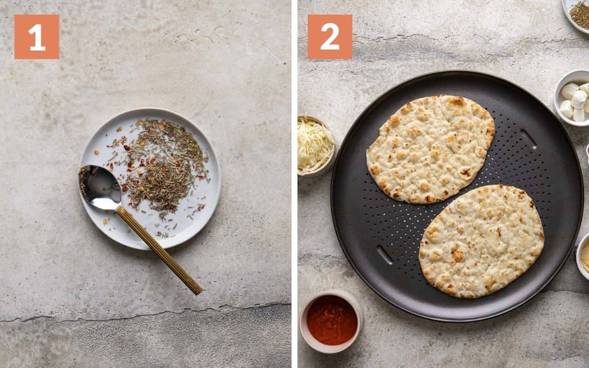 steps 1 & 2 herb blend on plate naans on pizza pan