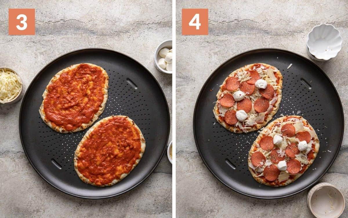 steps 3 & 4 sauce and garlic on naans pizzas fully assembled uncooked