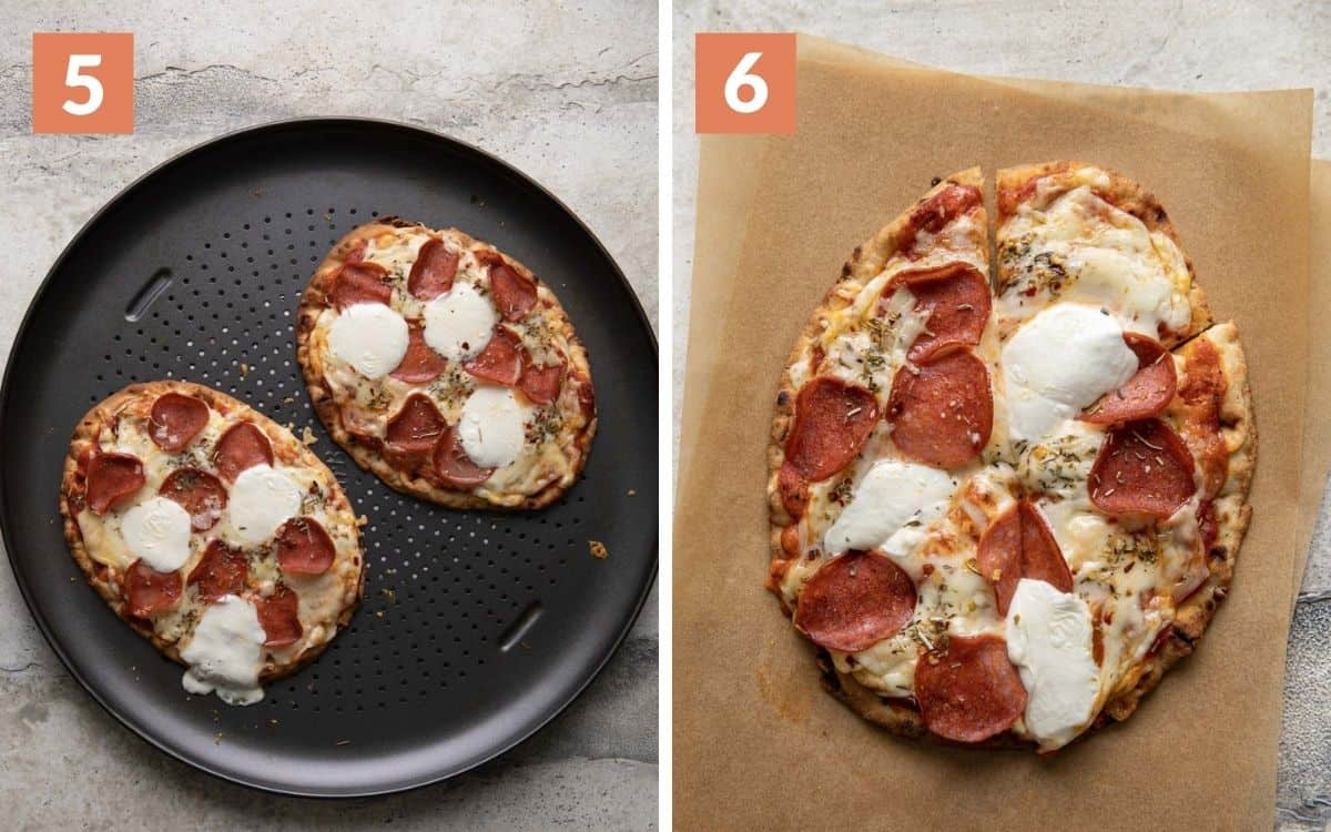 steps 5 & 6  cooked pizzas on pizza pan sliced pizza on parchment paper
