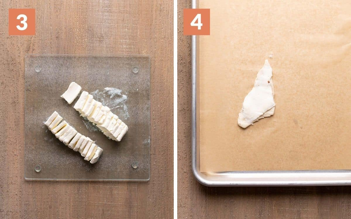 steps 3 & 4 cream cheese cut into 24 pieces on cutting board piece of dough with cream cheese spread on it