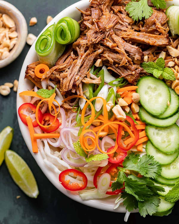close up of pork bowl