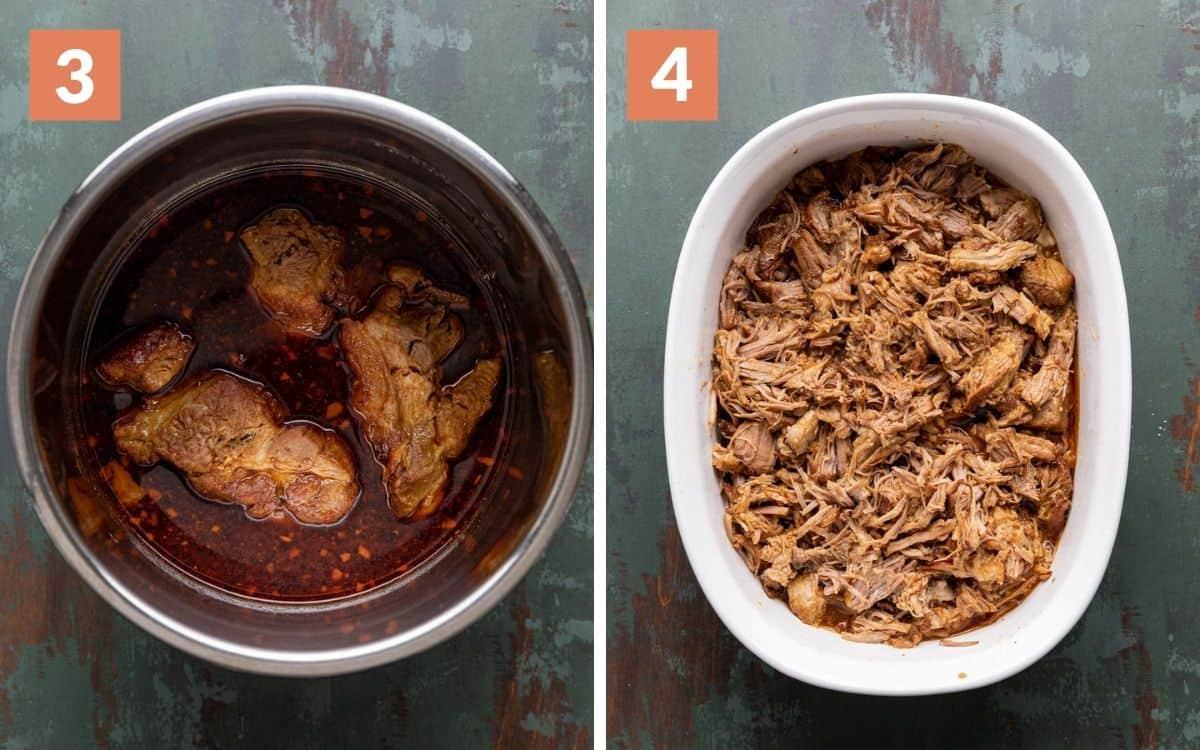 steps 3 & 4 cooked pork in pot shredded pork in pot