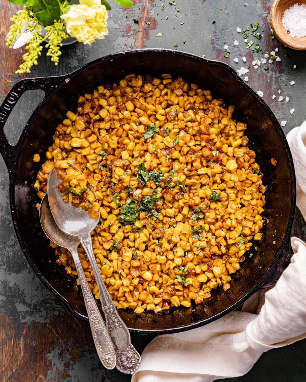overhead of corn in skillet