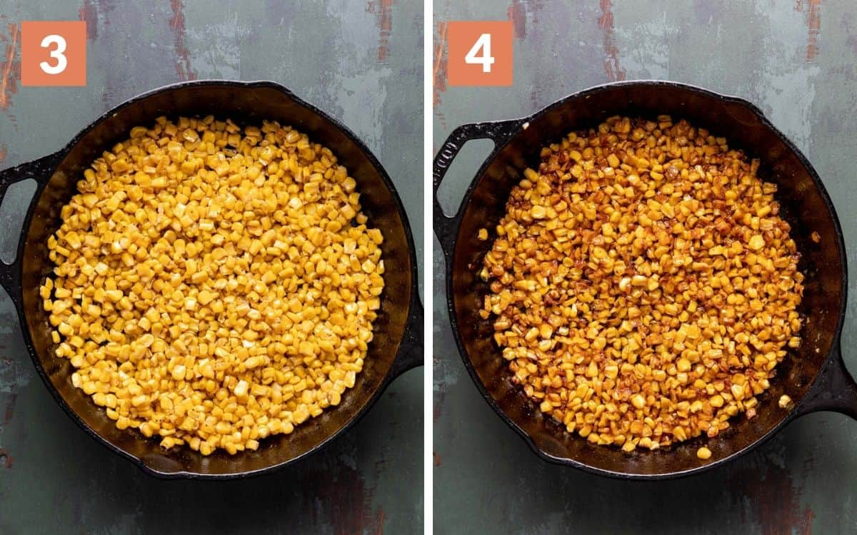 steps 3 & 4 corn after 15 minutes more of cooking finished corn with golden color