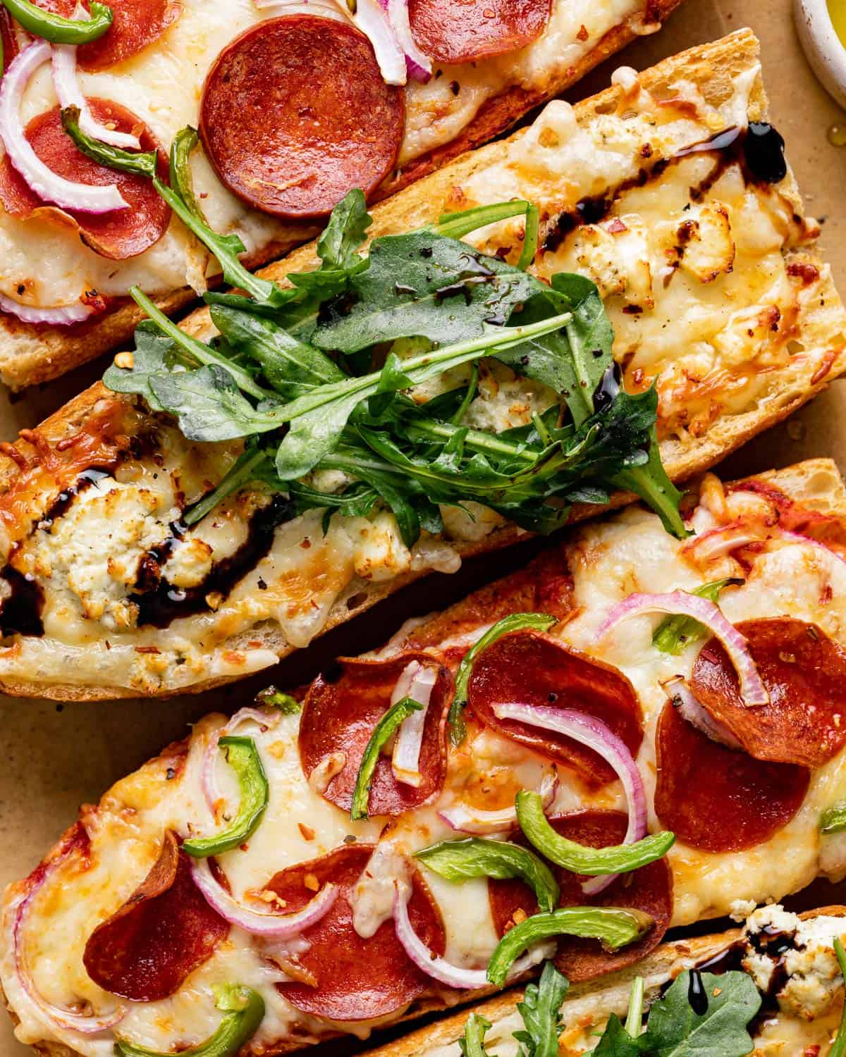 close up of pizzas