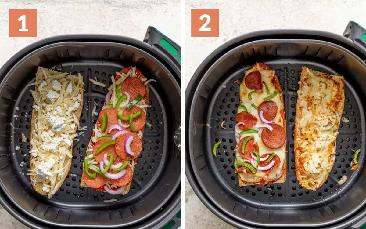 steps 1 & 2 uncooked pizzas in air fryer cooked pizzas in air fryer