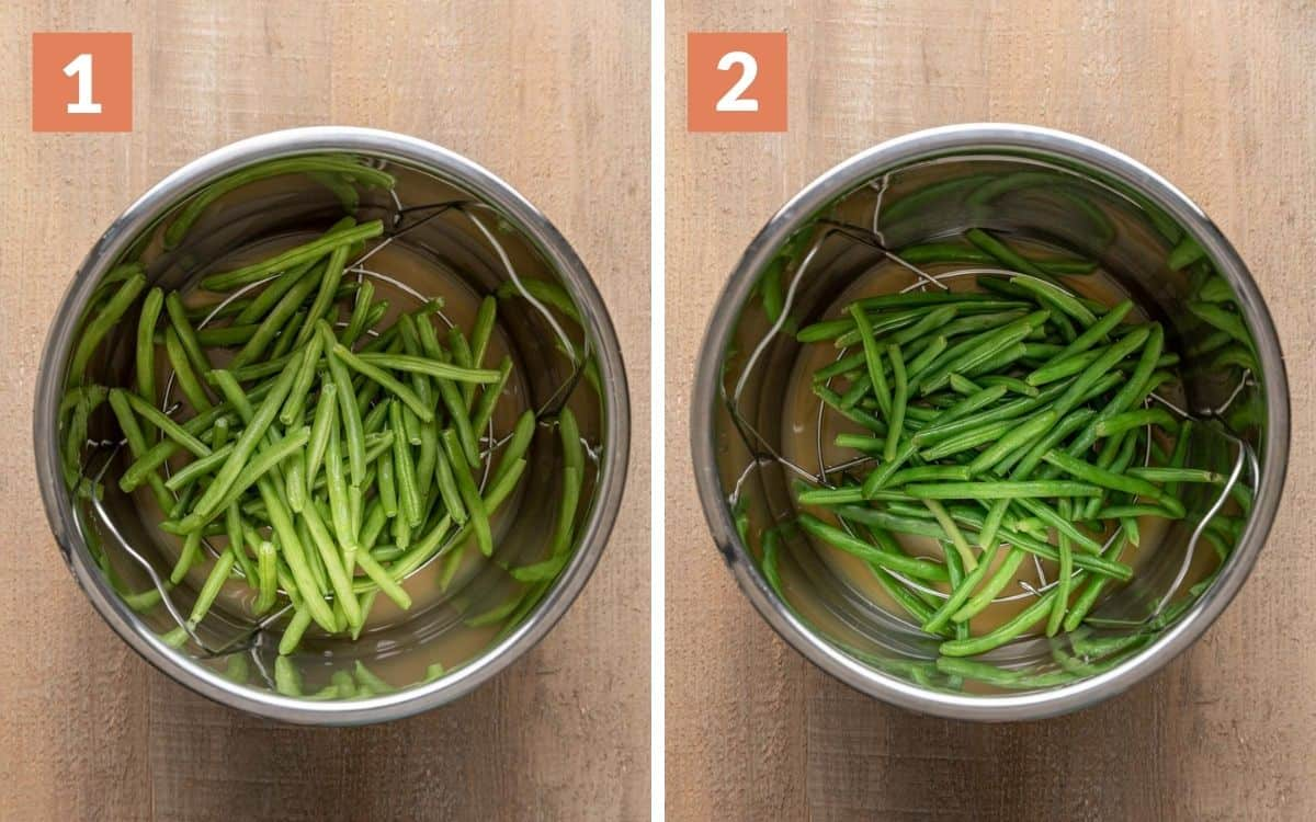steps 1 & 2  green beans uncooked in pot steamed green beans in pot