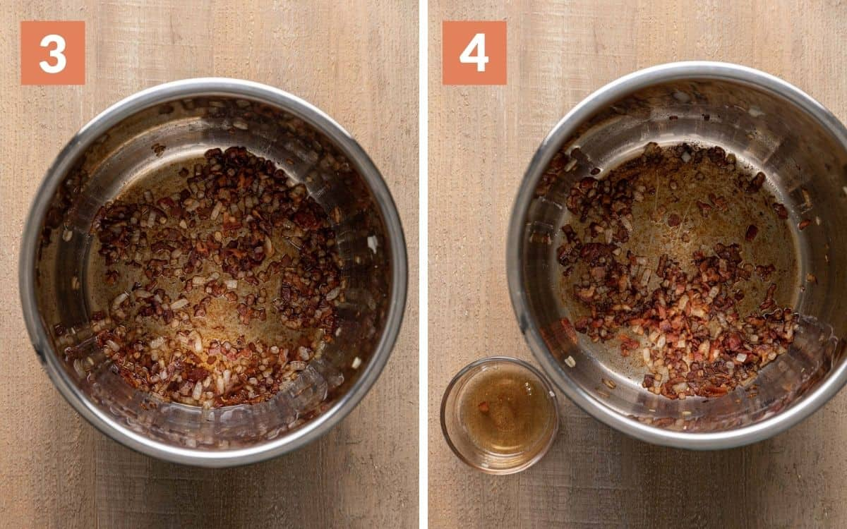 steps 3 & 4 cooked onion and bacon in pot greased removed from pot