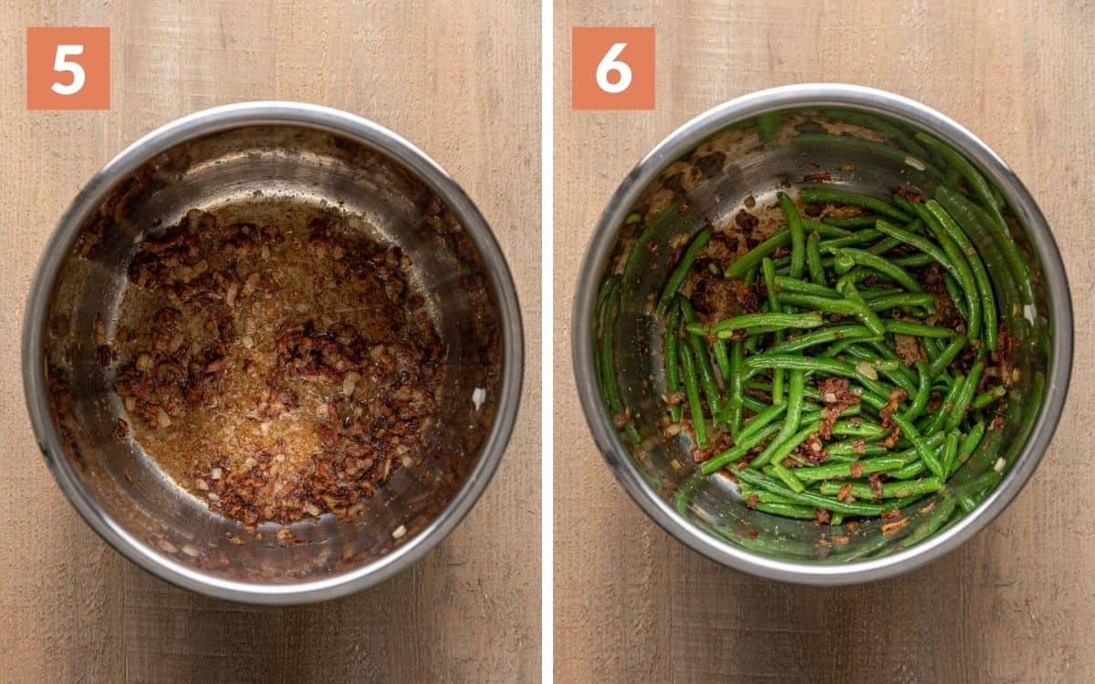 steps 5 & 6 garlic, onion, and bacon cooked green beans tossed with everything in the pot