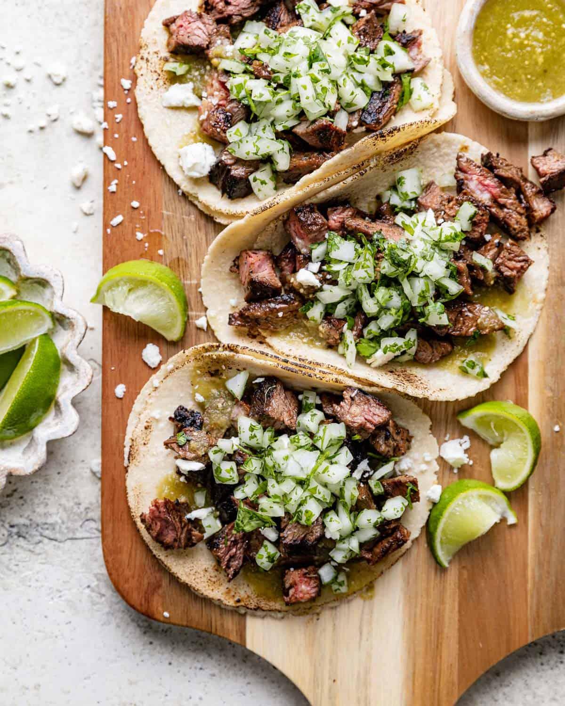 overhead of steak tacos