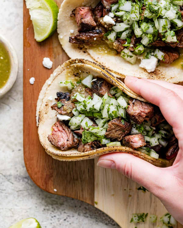close up of taco