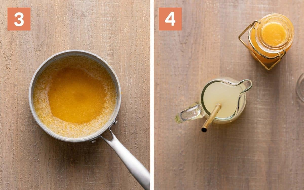 steps 3 & 4 peach syrup in pan drink in small pitcher