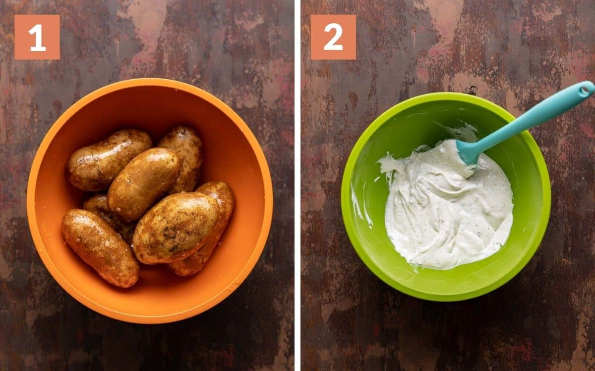 steps 1 & 2 potatoes tossed in oil sour cream sauce mixed in bowl