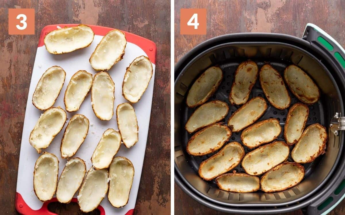 steps 3 & 4 potatoes sliced and scooped out empty skins after air frying