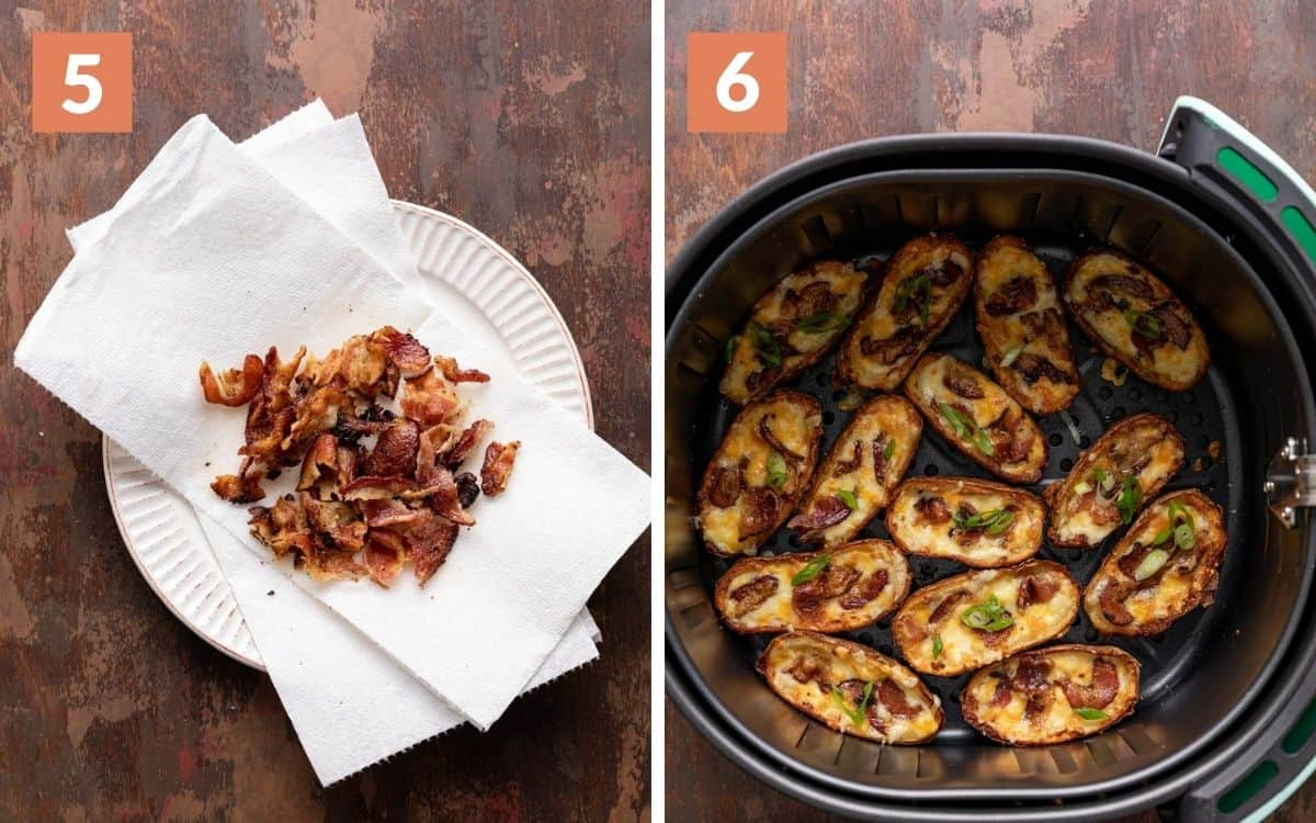 steps 5 & 6 bacon crumbled on paper towel finished skins in the air fryer