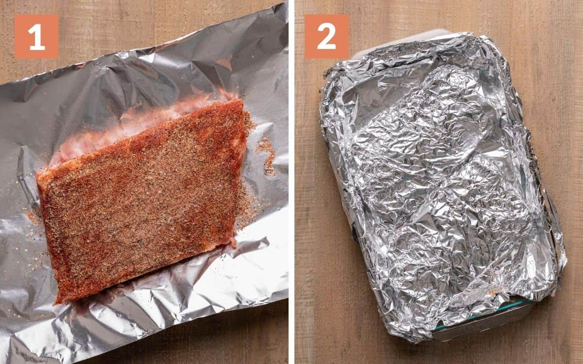 steps 1 & 2 ribs coated in rub ribs completely wrapped in foil in pan