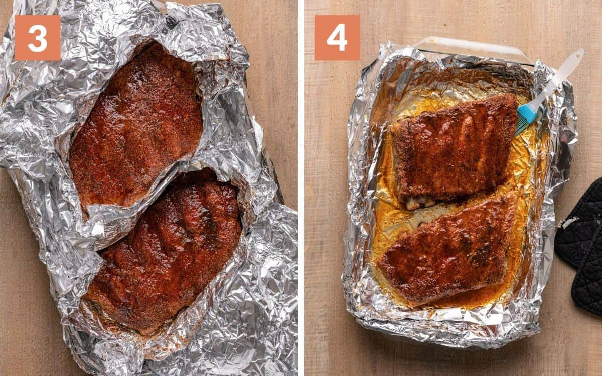 steps 3 & 3 ribs exposed but still wrapped after basting  ribs unwrapped and basted