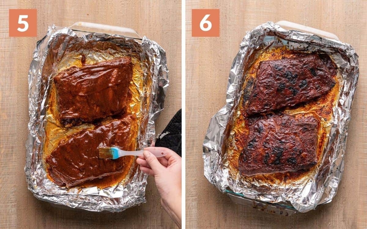 steps 5 & 6 ribs brushed in sauce ribs broiled until some dark spots formed