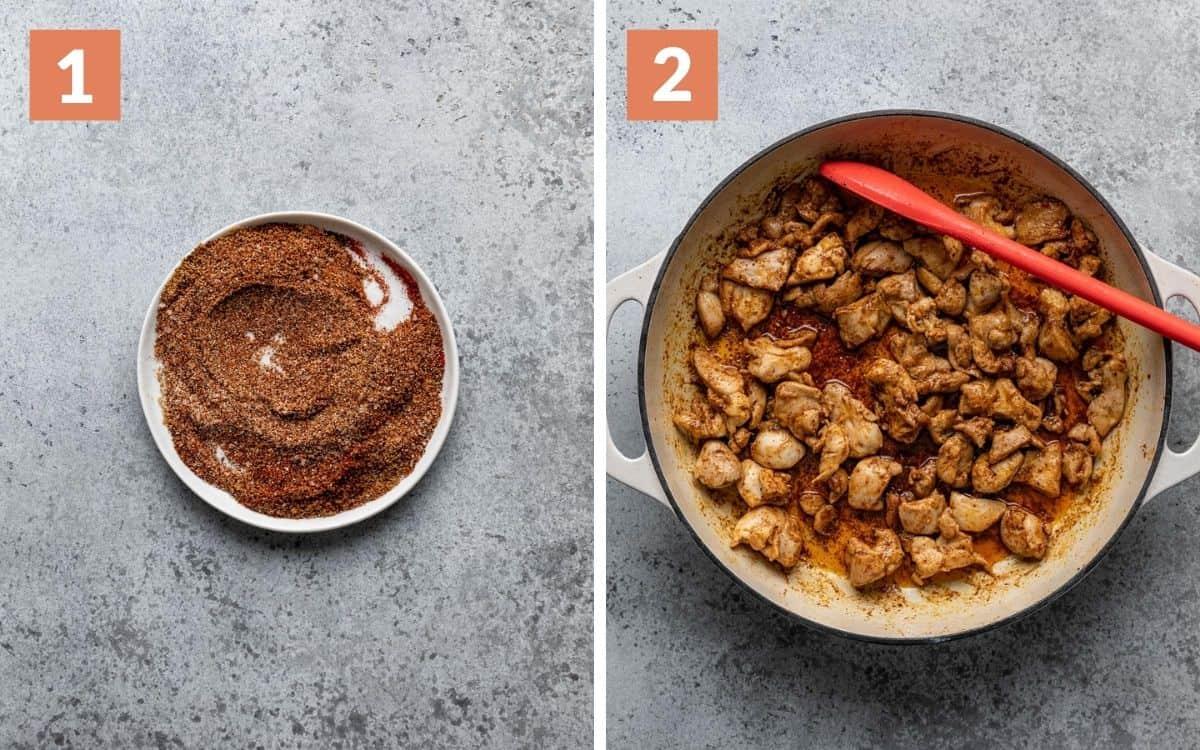 steps 1 & 2 seasoning on bowl chicken browned