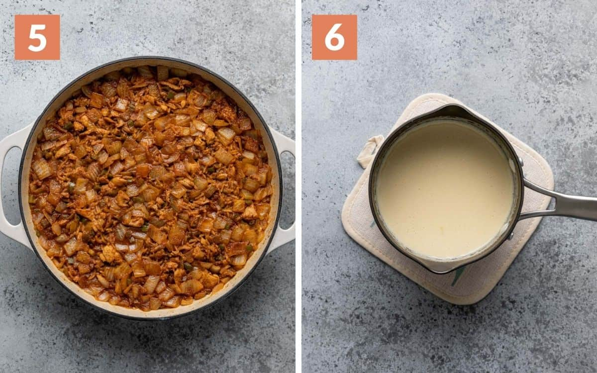 steps 5 & 6 cooked rice in skillet white queso in saucepan