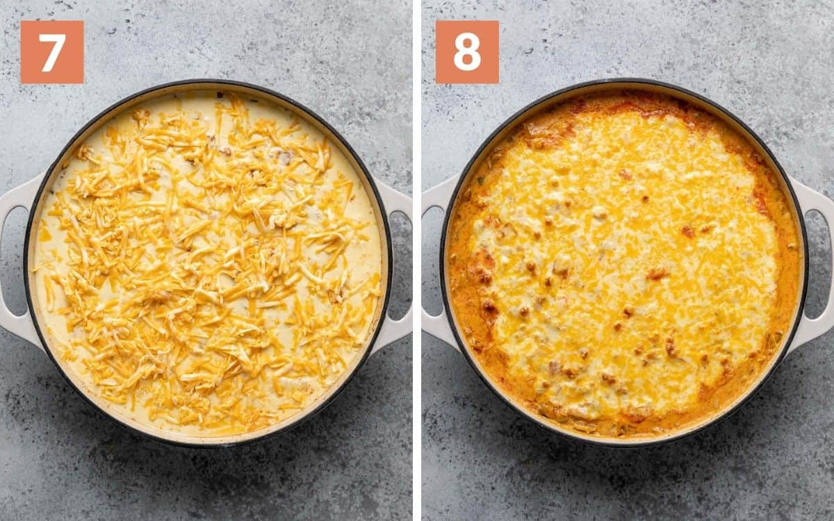 steps 7 & 8 queso and cheese poured in skillet baked skillet browned on top