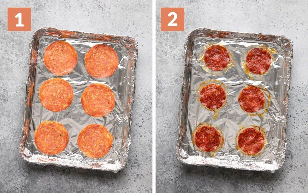 steps 1 & 2 uncooked calabrese cooked calabrese on sheet pan