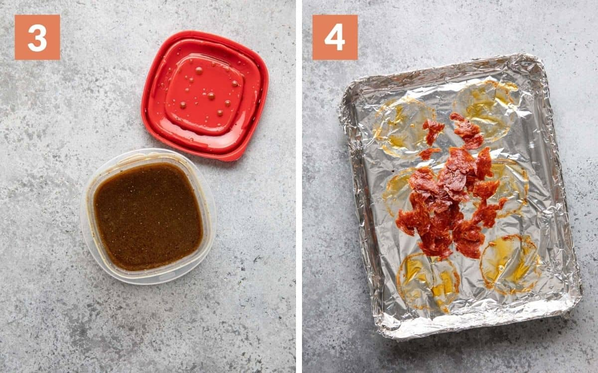 steps 3 & 4 Vinaigrette in container crumbled calabrese