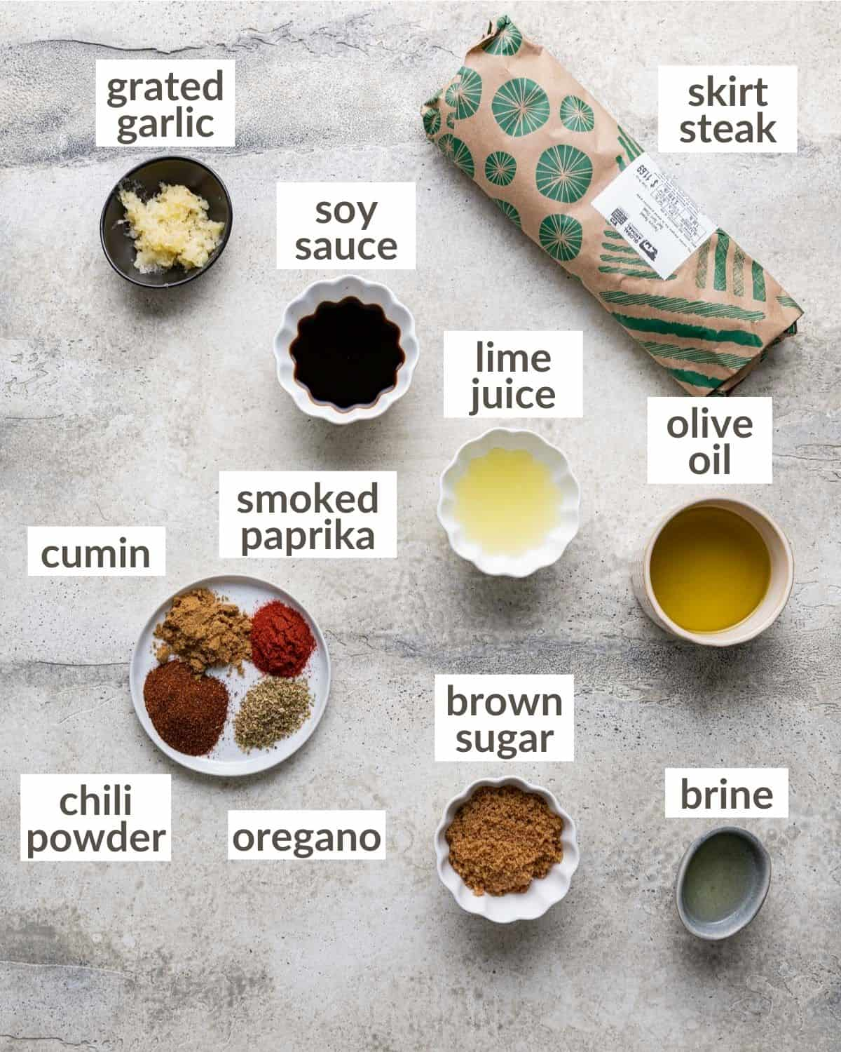 overhead of ingredients for marinade and steak