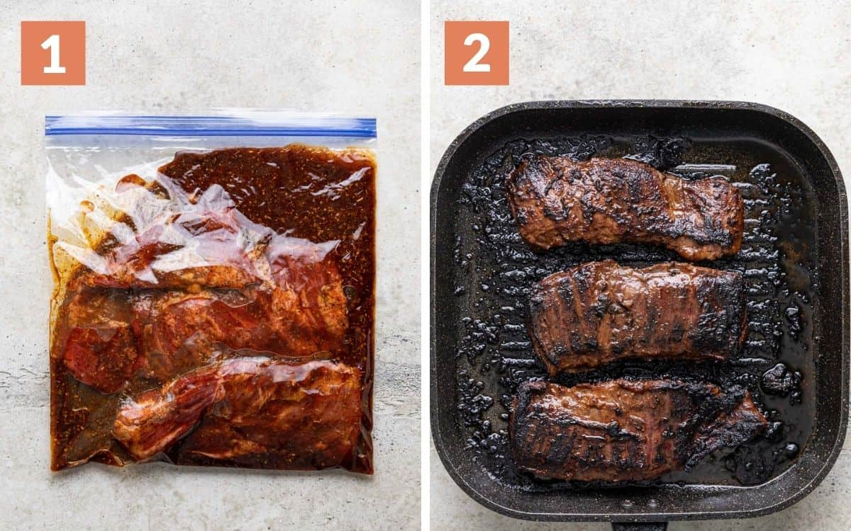 steps 1 & 2 meat in marinade grilled meat in grill pan