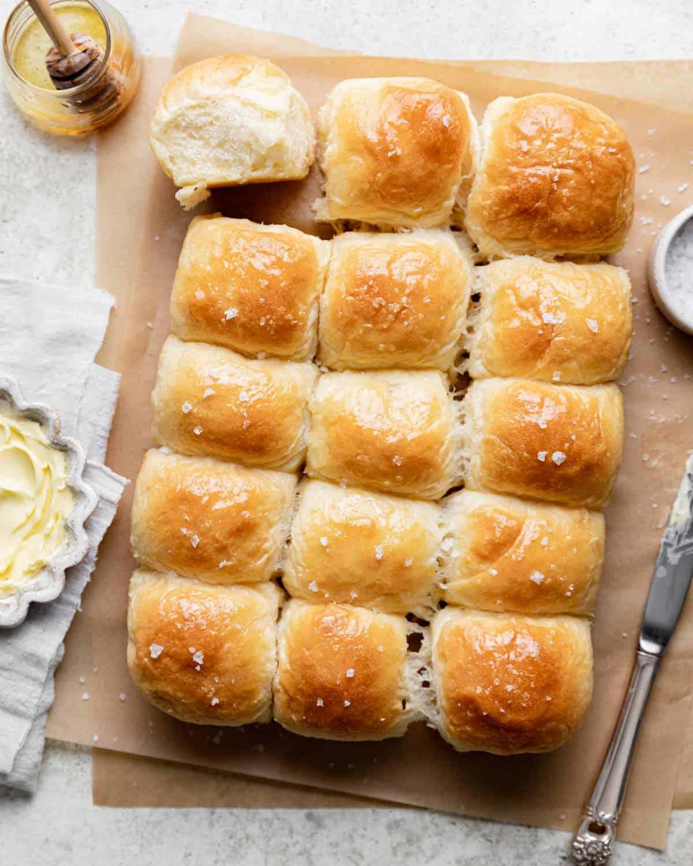 overhead shot of rolls