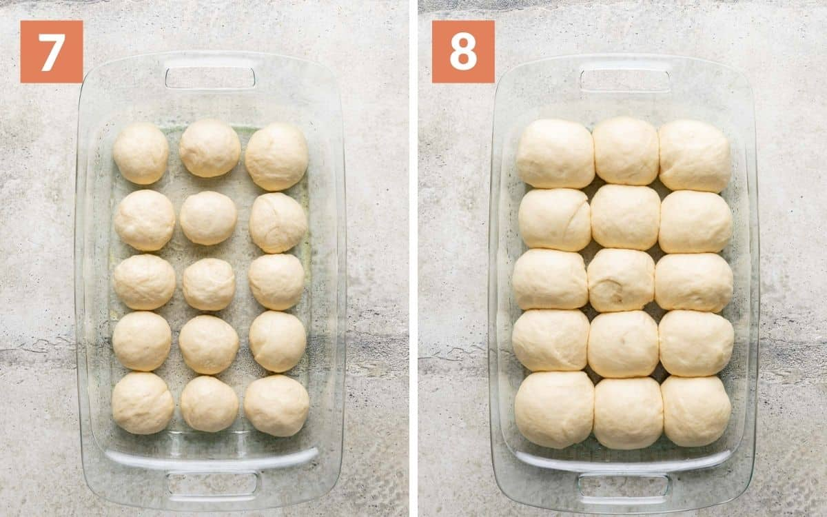steps 7 & 8 dough balls in baking dish risen rolls in baking dish