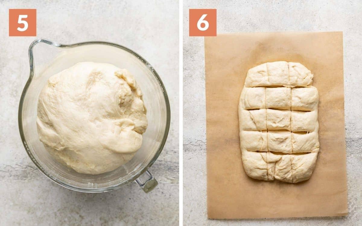 steps 5 & 6 risen dough dough divided in 15 sqaures
